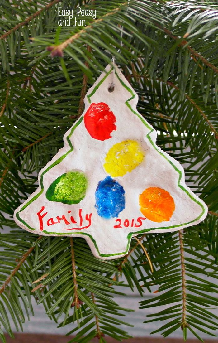 Fingerprint Christmas Tree Salt Dough Ornament - Easy Peasy and Fun