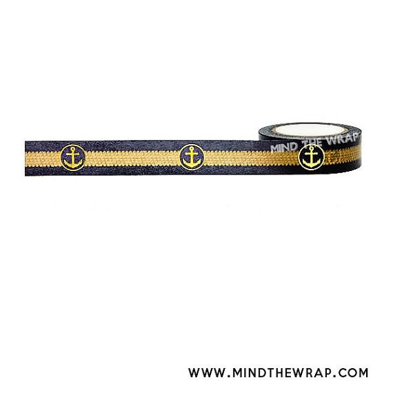 """Gold Foil """"Anchor Rope"""" Washi Tape - Shiny Gold foil Anchors and faux braided Rope - Elegant Nautical or Naval theme"""