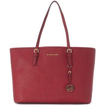 Geanta de umar Michael Kors Jet Set Travel Shopping Bag In Red Cherry Saffiano Leather Red de culoare rosie de dama
