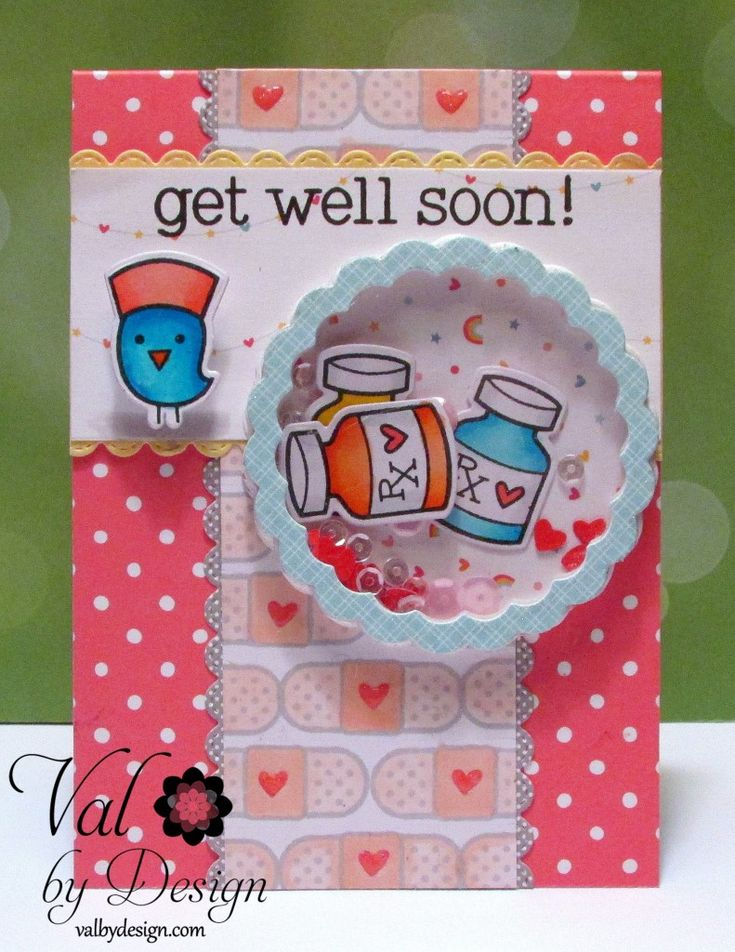 Copic shaker card using the Lawn Fawn - Get Well Soon stamp set along with the matching die set. Made by Valerie