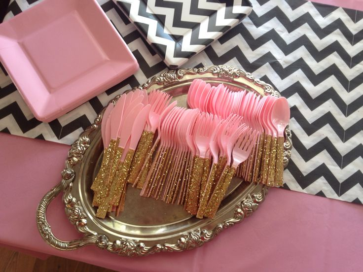 Kate spade themed party DIY gold sparkle utensils
