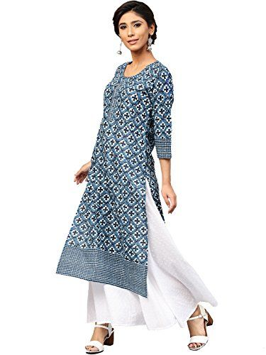 d7a27b7606 Amayra Women Cotton Blue Printed Straight Kurti | Kurtas Clothing and  Accessories Ethnic Wear Women | Best news and deals!