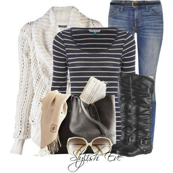 Black Boots Fall Winter Outfit, Would pair up with black leggings, Cute! Minus the Glasses