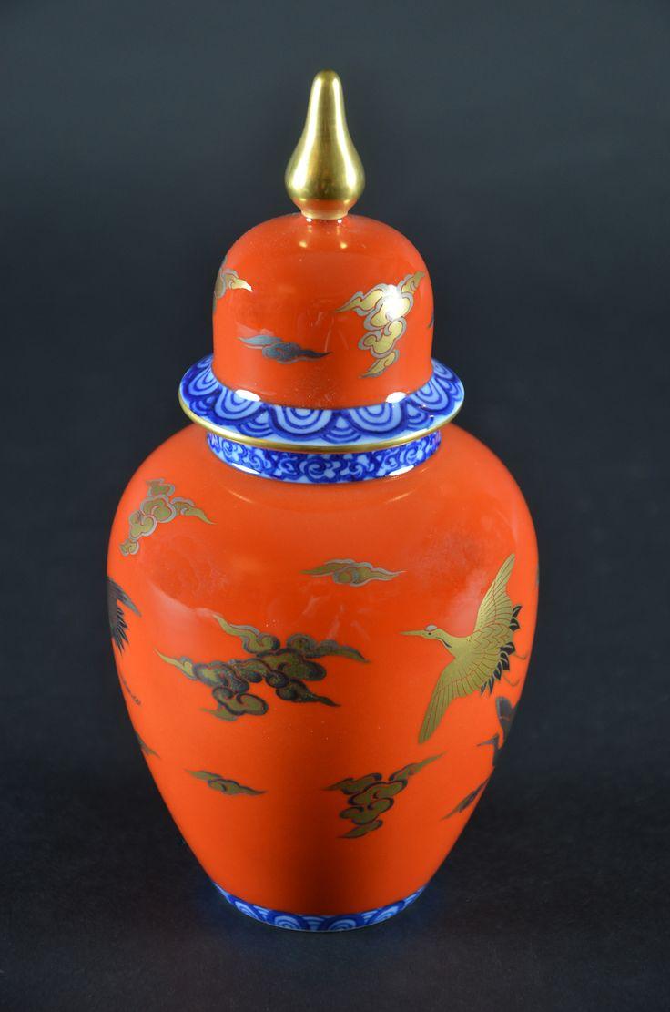 Visit Us Japanese Fukagawa Imperial Fine China Porcelain Ginger Jar Red Crowned Crane Made In