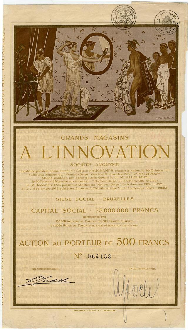 GRAND MAGASINS A L'INNOVATION SOCIETE ANONYME   Aktie über bFr 500; Nr. 64153; Belgien, Brüssel, 15. September. 1928