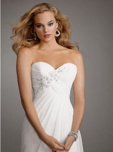 Beaded Sweetheart Draped Satin And Chiffon Wedding Dress love it and matches Carly's dress but $$$ very similar to top 3 dress but no lace back and beads go in opposite direction