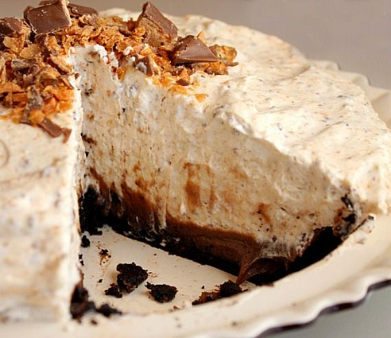 Butterfinger Pie - It was so good - creamy and delicious. I used 1.5 cups (instead of 2 c) of heavy cream for the topping and it was plenty. May lessen the middle layer whipping cream by 1/2 cup the next time too. It's a keeper!