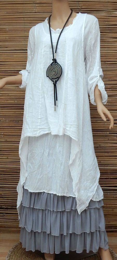 LAGENLOOK LINEN AMAZING LOVELY 2 PCS LONG TUNIC/DRESS+OVERTOP*WHITE*SIZE M-L