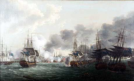 The Battle of Copenhagen: Nelson's British Fleet sails up the Royal Channel to attack the Danish Fleet and the Trekroner Citadel. The 3 British ships aground are to the right: Bellona, Russell and Agamemnon