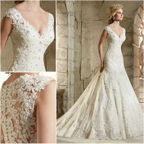 Mermaid Lace Wedding Dresses V Neck Sleeveless Applique White/Ivory Bride Gowns from Bridalstory