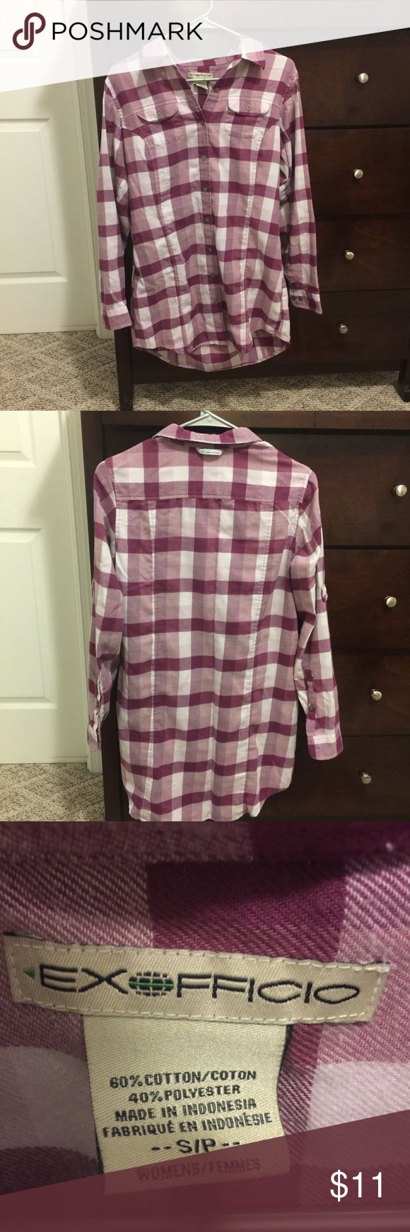 Tunic Length Flannel Shirt Cute, soft, & cozy lonnng tunic length flannel shirt/dress. Perfect with leggings and boots! I'm 5'9 and it was mid-upper thigh length on me. Definitely covered my rear! 👀👌 ✔️Size small...very roomy fit - could also fit a medium.  ✔️In great shape...worn gently a handful of times and well cared for.   All my items are from a smoke free home.  I love to give BUNDLE discounts! Just ask! 😘🎉✌🏻 Exofficio Tops Tunics