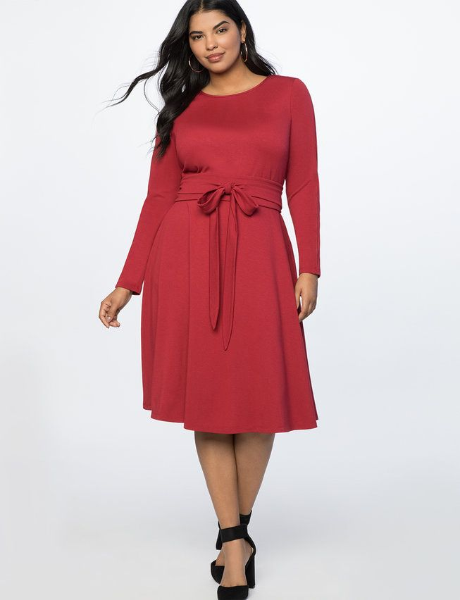 947759505b8 Long Sleeve Fit and Flare Dress from eloquii.com