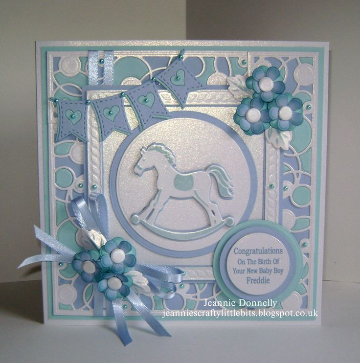 New Baby Boy Card - main dies from Creative Expressions / Sue Wilson, Striplets Collection - Intertwining Circles, New York Times Square, Camellia Complete Petals, Tonic Studios Layering Circles, La La Land Heart Banner and Marianne Designs Rocking Horse.