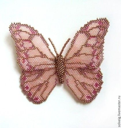 Купить Бабочки - розовый, бабочка, бабочка из бисера, брошь из бисера, сиреневый, бисер японский