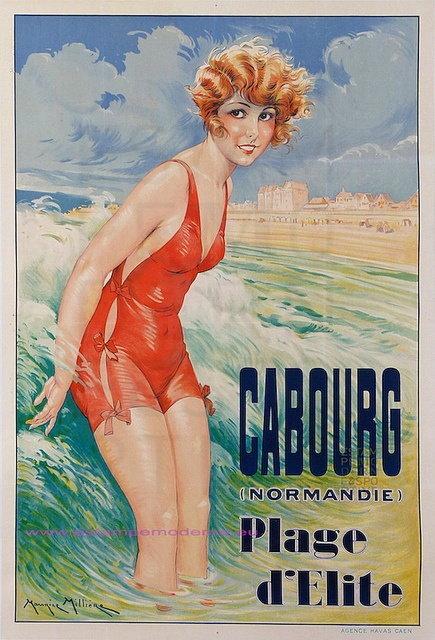 Travel in france at the Belle Epoque - Cabourg Plage d'Elite - Normadie, france . Vintage art nouveau poster #beach #deco #affiche www.varaldocosmetica.it/en olive oil cosmetics