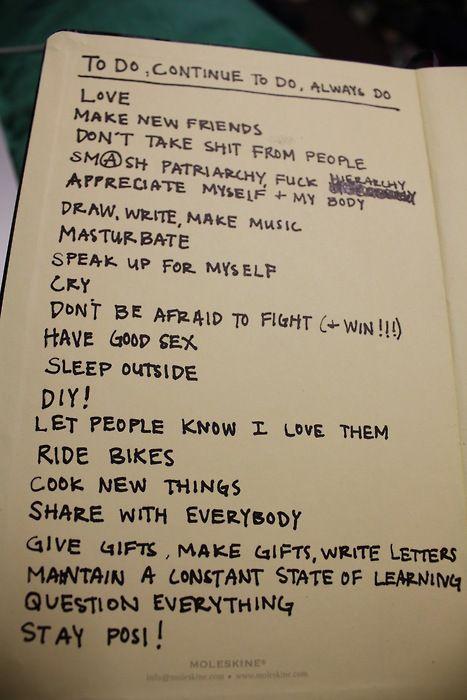 to do, continue to do, always do list