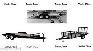 (3 Sets)Trailer Plans 8x10 ATV, 8x16 Car And 5x8 Utility Trailer Plans.