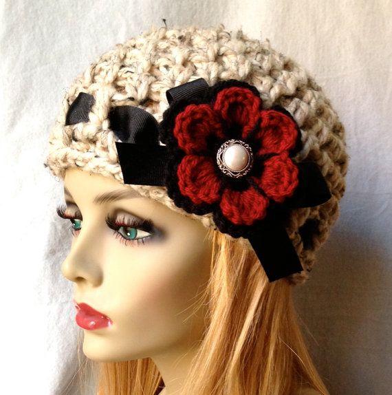 Valentines, Crochet Womens Hat, Beanie, Oatmeal, Very Soft Chunky Wool, Flower, Ribbon, Warm, Teens, Winter, Ski Hat, JE808B3 on Etsy, $39.00