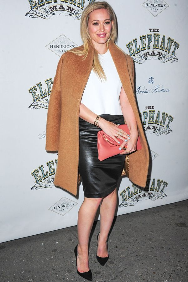 White blouse, black leather pencil skirt and a camel colored wool coat with the perfect amount of accessories.