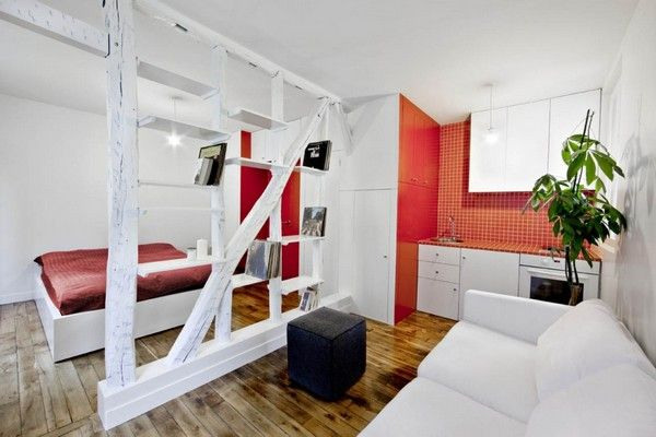 Surprisingly Small Apartment in Paris with a Charming Red&White Interior