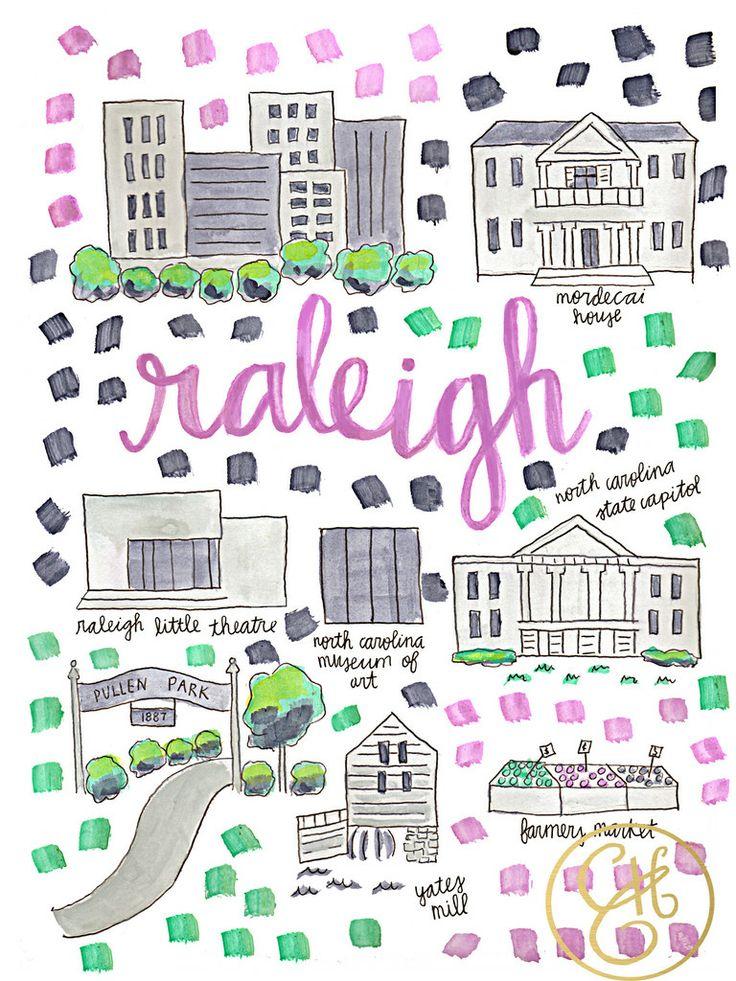 Raleigh Map Print www.evelynhenson.com