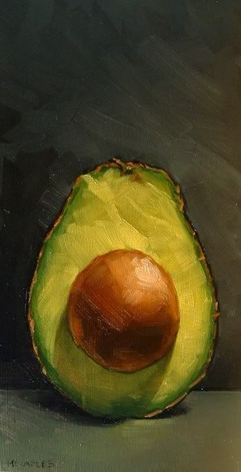 """MICHAEL NAPLES. """"Avocado Half Part 2"""" Oil on Board. Approx 4""""x8"""" SOLD. """"Here is part 2. It was interesting capturing the convex properties of this one versus the concave properties of yesterday's. And how can I forget that trademark lime color of the avocado. This is one of the most amazing fruits in my opinion."""""""