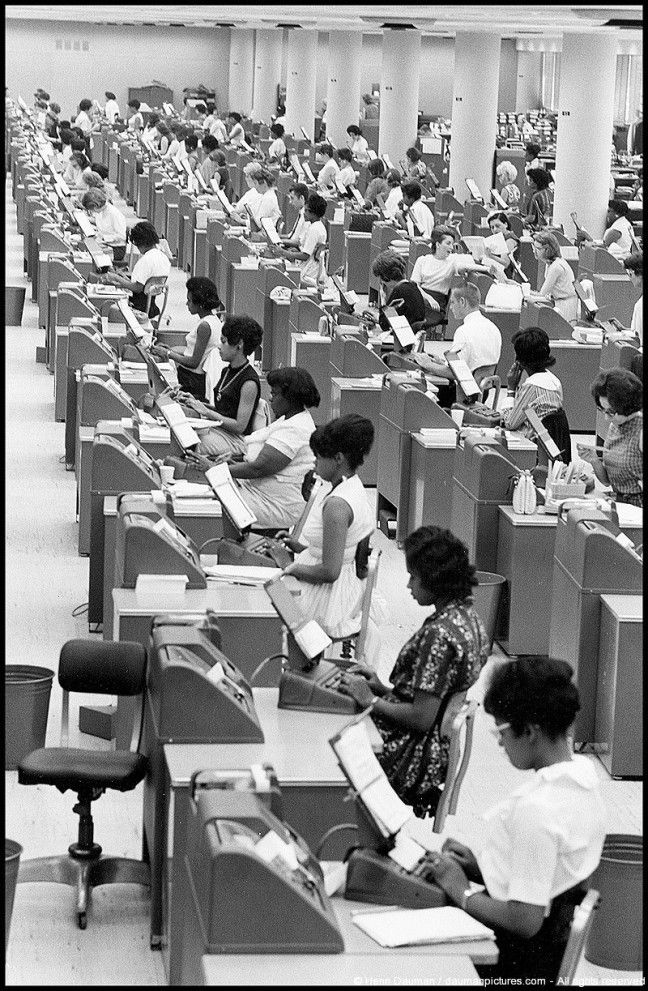 Baltimore Social Security Office. 1965. Photograph by Henri Dauman. Could the architect have seen Billy Wilder's The Apartment (set design: Alexandre Trauner)?
