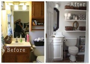 before and after update old bathroom, vanity and add shelves for extra storage above the toilet