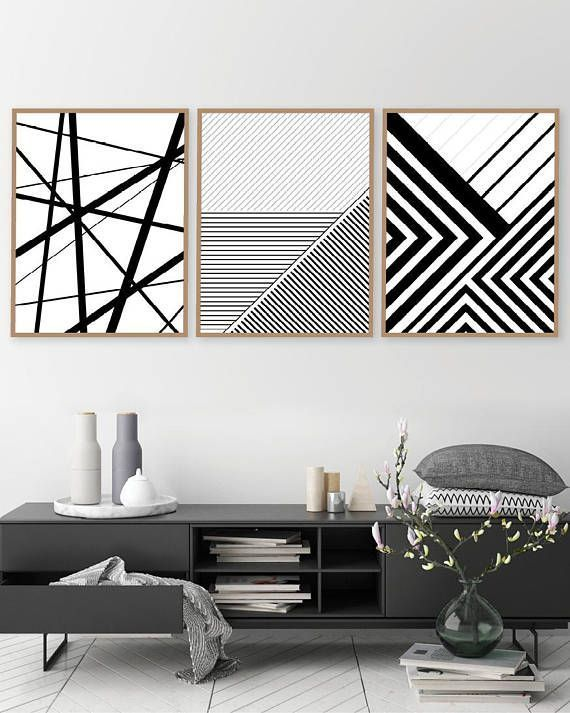 Set Of 3 Black And White Pattern Interior Design