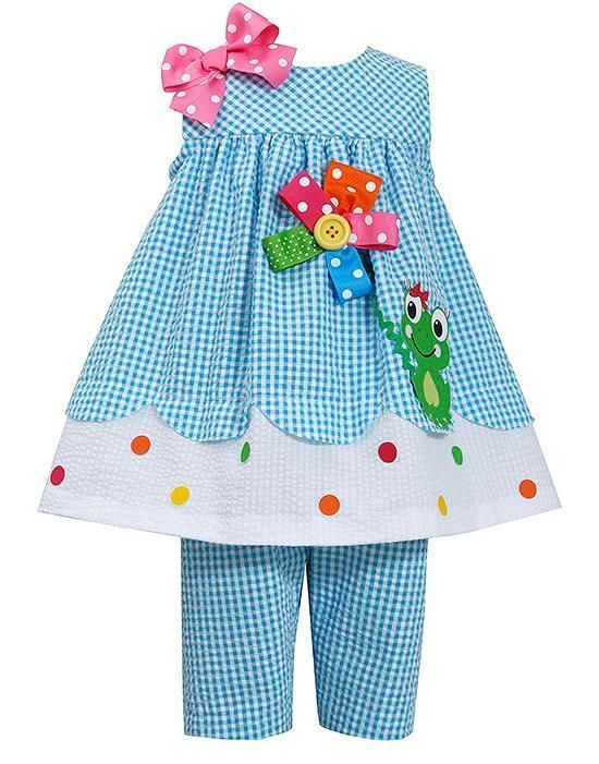 New Girls Bonnie Jean 2T Turquoise FROG Capri Spring Summer Easter Dress Outfit #BonnieJean #Everyday #TopCapriset
