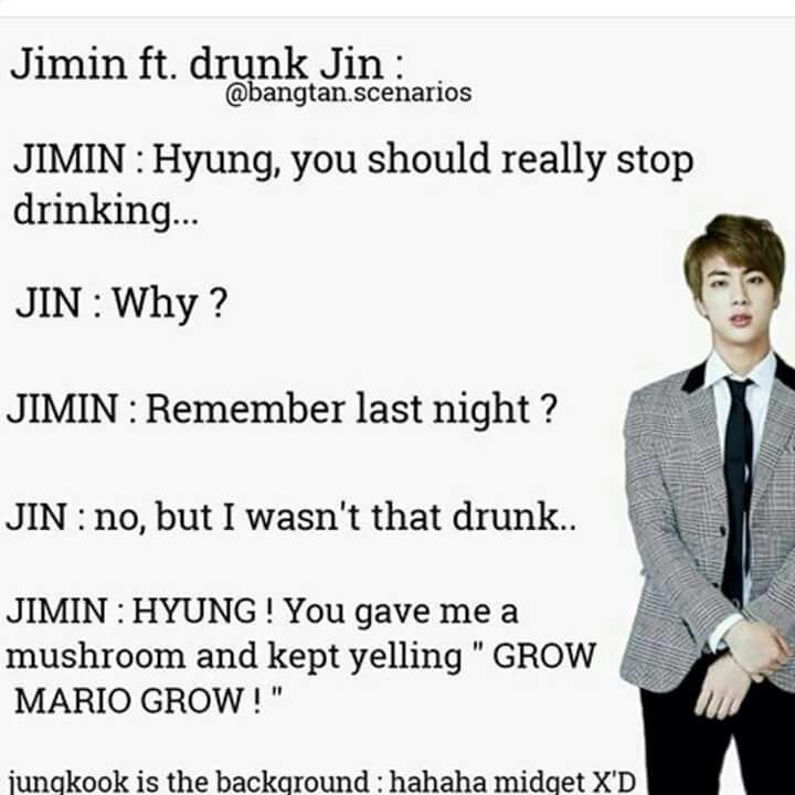 Given that Jin is a huge Mario fan, this is hilarious!  I wish it were true.