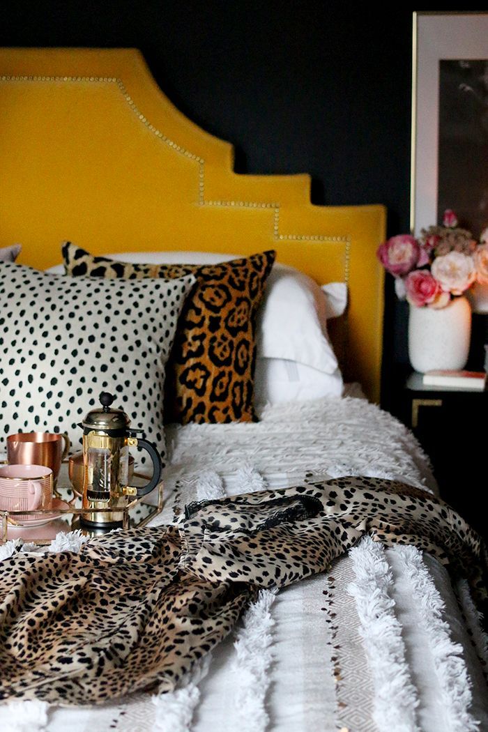 Boho Glam Bedroom With Leopard Print Accessories Home Decor Bedroom Eclectic Bedroom Glam Bedroom