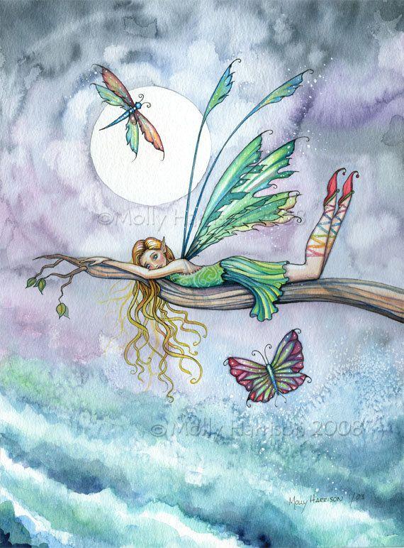 Dream Spot - Flower Fairy Water Color Illustration Fine Art Print [by Molly Harrison]