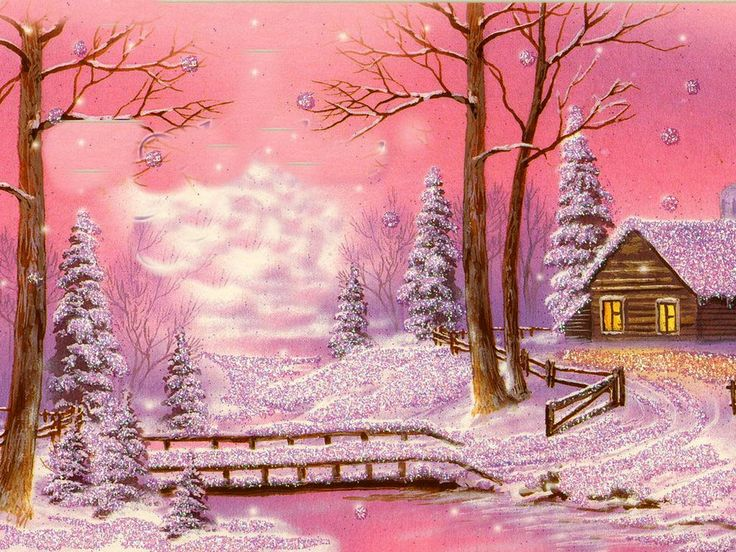 Vintage Christmas Card in Pinks ~ Cabin in Snowy Winter Landscape