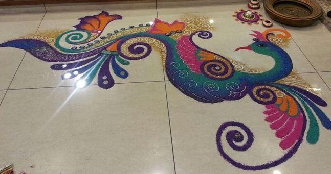 Beautiful Rangoli Designs of Peacock