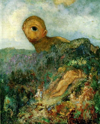 Odilon Redon - Cyclops.  Art Experience NYC  www.artexperiencenyc.com/social_login/?utm_source=pinterest_medium=pins_content=pinterest_pins_campaign=pinterest_initial