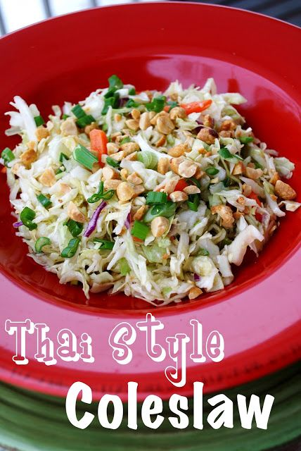 Thai Style Coleslaw Recipe ~ This coleslaw is sweet, sour, spicy, salty and crunchy, which equals delicious!