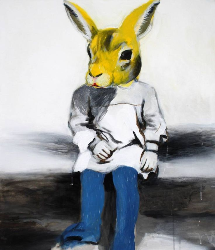 Buy Prints of Yellow rabbit (SOLD), a Acrylic on Canvas by Hanna Ilczyszyn from Belgium. It portrays: Animal, relevant to: rabbit, vintage, yellow, child, funny, mask painting