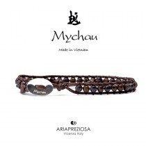 Mychau - Bracciale Vietnam originale realizzato con Agata Bronzo naturale su base bracciale col. Testa di Moro