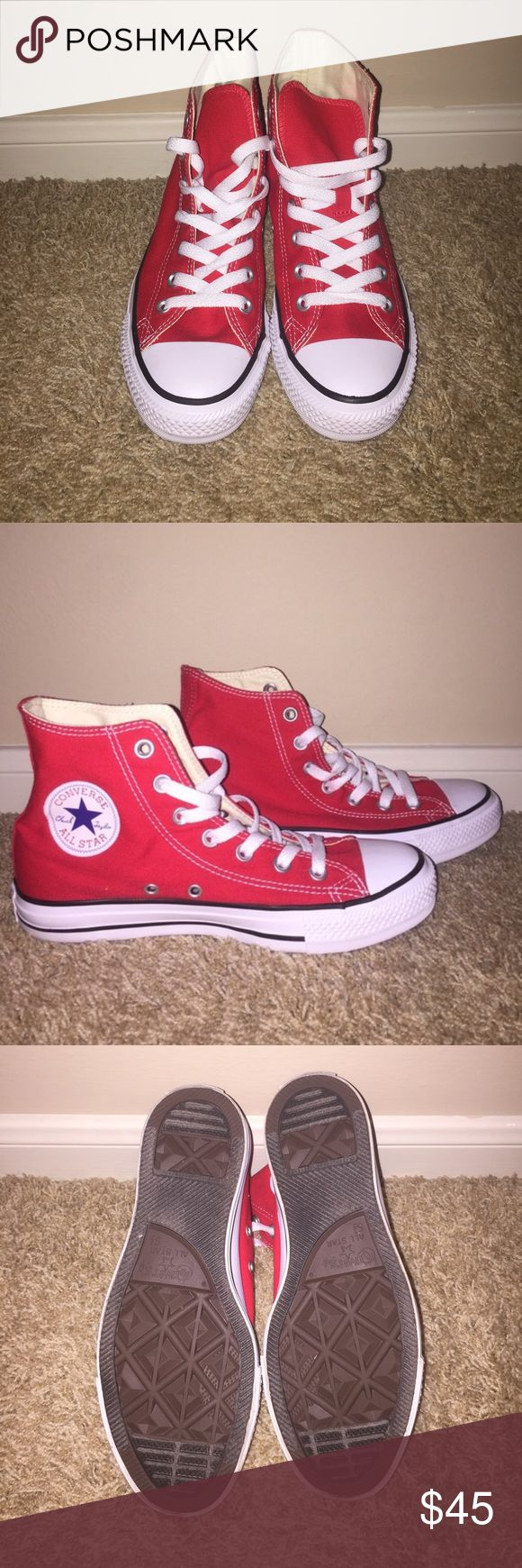 Red Converse All Stars Never worn--Accepting reasonable offers!! Converse Shoes Sneakers