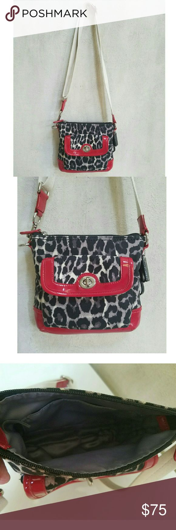 black and gray coach online factory outlet efoz  COACH red patent ocelot swingpack crossbody Small crossbody The is a red  ocelot Coach swingpack