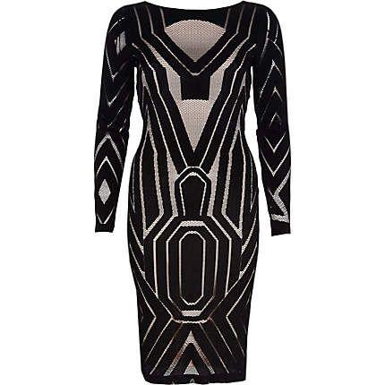 Black lace midi bodycon dress $100.00