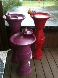 Terra Cotta planters glued together and painted into bird baths.