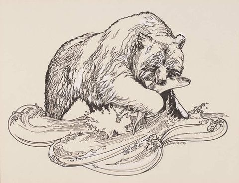 Картинки в карандаше медведя с рыбой сказочные
