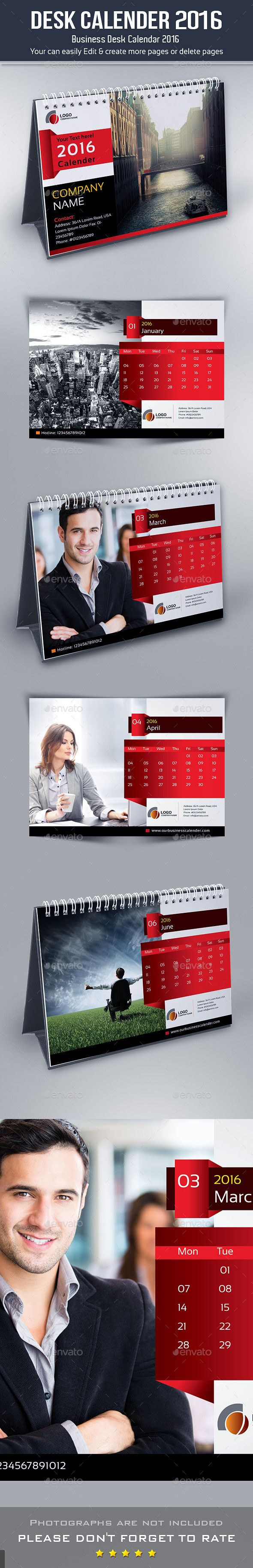 Desk Calendar 2016 Indesign INDD, IDML & PDF File Template #design Download: http://graphicriver.net/item/desk-calendar-2016/12793964?ref=ksioks