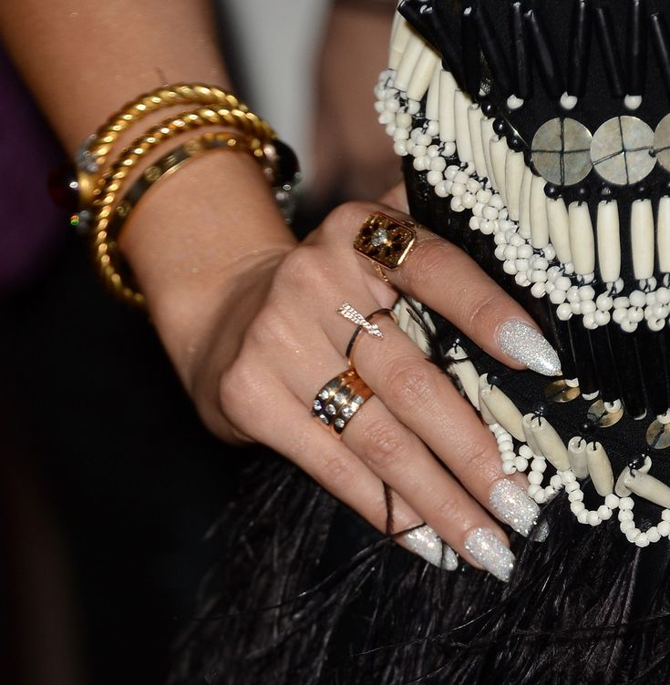 Vanessa Hudgens showed off her long nails with this silver glittery polish.
