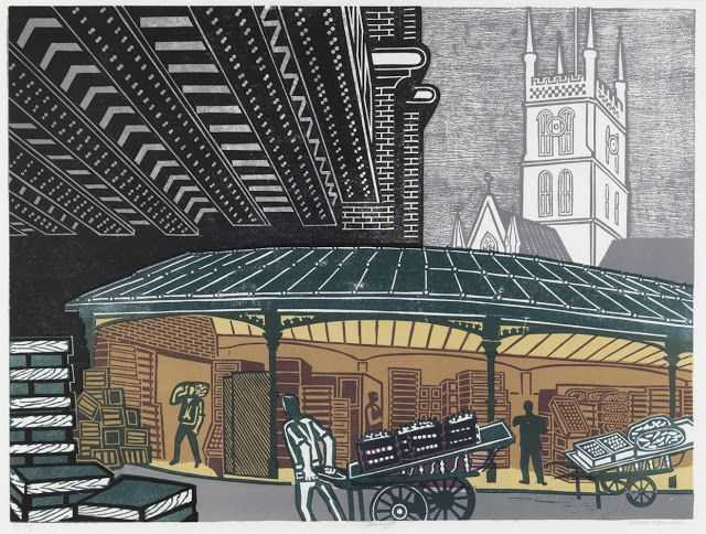 """Borough Market"" by Edward Bawden, 1967 (lithograph)"