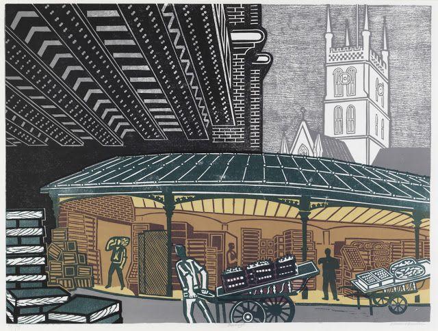 """""""Borough Market"""" by Edward Bawden, 1967 (lithograph)"""