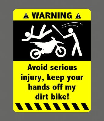 WARNING DIRT BIKE STICKER DECAL 4 KTM YAMAHA 250 125