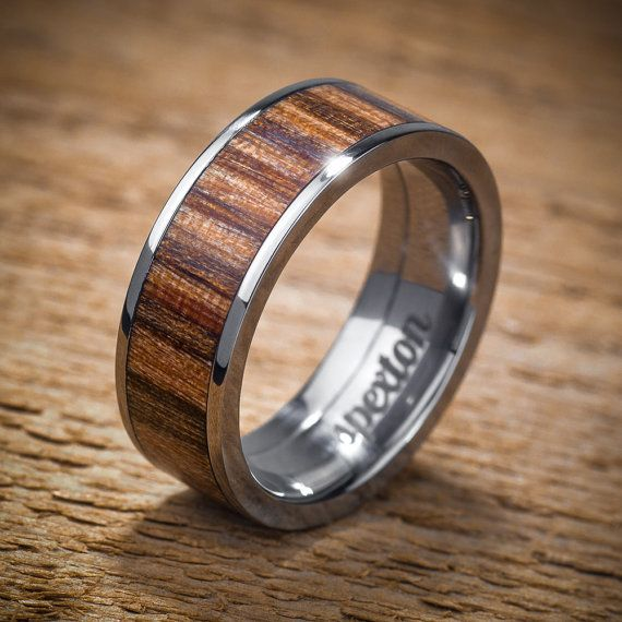 titanium wood wedding band applewood mens ring by spexton on etsy - Wooden Wedding Rings For Men